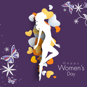 Happy Womens Day Greeting Card Or Poster Design With White Silhouette Of A Young Girl On Purple  Background.