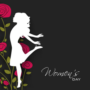 Happy Womens Day Greeting Card Or Poster Design With White Silhouette Of A Young Girl In Dancing Pose On Floral Decorated Grey Background.