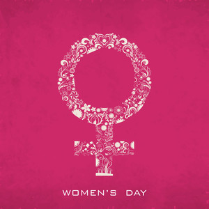Happy Womens Day Greeting Card Or Poster Design With Woman Symbol On Grungy Pink Background.