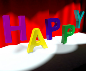 Happy Word On Stage Meaning Happiness Fun And Joy