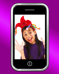 Happy Young Girl Photo On Mobile Phone