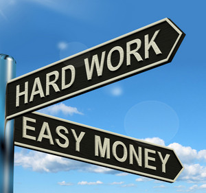 Hard Work Easy Money Signpost Showing Business Profits