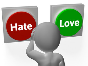 Hate Love Buttons Show Attitude Or Hatred