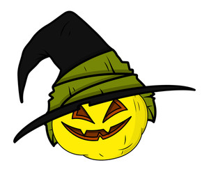 Haunted Jack O' Lantern - Halloween Vector Illustration