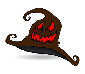 Haunted Witch Hat - Halloween Vector Illustration
