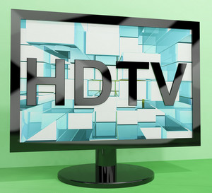 Hdtv Monitor Representing High Definition Television Or Tv