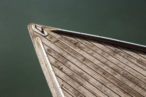 head of boat floats near the shore