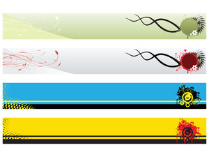 Headers With Floral And Grunge Elements