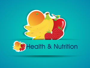 Health And Nutrition Sticker With Organic Food.