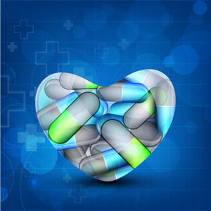 Health Care Background With Capsules In A Heart Shape.