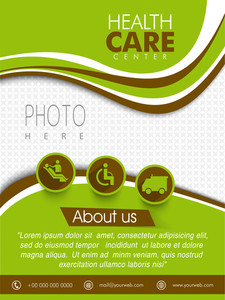 Health Care Center template brochure or flyer design with place holder for your photo and medical symbols.