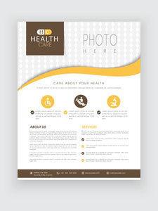Health Care flyer with medical icons and proper place holder for image and content can be used as template