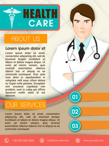 Health Care template brochure or flyer design with illustration of a doctor.