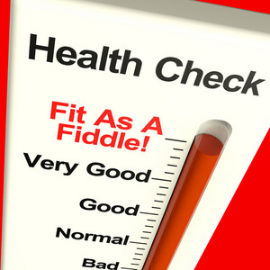 Health Check Very Fit On Monitor Showing Healthy Condition