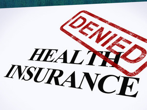 Health Insurance Denied Form Shows Unsuccessful Medical Application