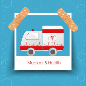 Health & Medical Concept With Ambulance On Blue Background.