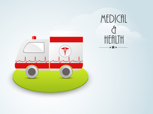 Health & Medical Concept With Ambulance On Green Stage On Blue Background.