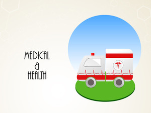 Health & Medical Concept With Ambulance On Green Stage.