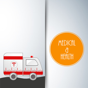Health & Medical Concept With Ambulance On Grey Background.