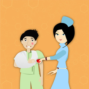 Health & Medical Concept With Beautiful Nurse Checking Up His Patient On Yellow Background.