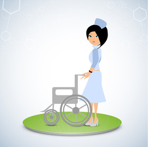 Health & Medical Concept With Beautiful Nurse Holding Wheel Chair On Green Stage On Abstract Background.