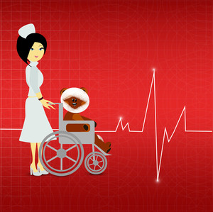 Health & Medical Concept With Beautiful Nurse On Heartbeat Decorated Red Background.