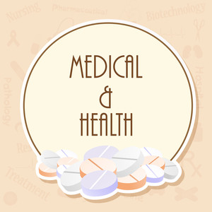 Health & Medical Concept With Capsules On Abstract Background.