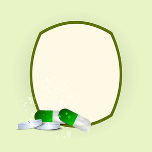 Health & Medical Concept With Green Medical Pills On Abstract Background.
