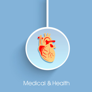 Health & Medical Concept With Hanging Sticker Having Heartshape Design On Blue Background.
