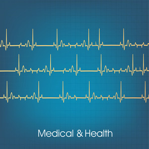 Health & Medical Concept With Heartbeats On Blue Background.