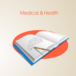 Health & Medical Concept With Human Brain Sketch Design On Notebook.