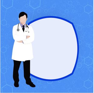 Health & Medical Concept With Illustration Of A Doctor And Space For Your Text On Blue Background.