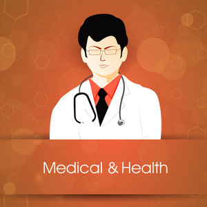 Health & Medical Concept With Illustration Of A Doctor On Orange Background.