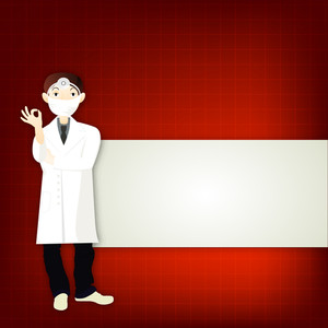Health & Medical Concept With Illustration Of A Doctor On Red And Grey Background.