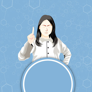 Health & Medical Concept With Illustration Of A Girl On Blue Molecules Background.