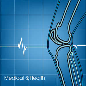 Health & Medical Concept With Illustration Of A Human Knee On Blue Background.