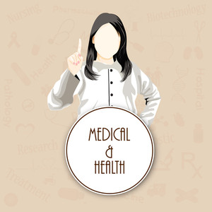 Health & Medical Concept With Illustration Of A Lady Doctor On Abstract Background.