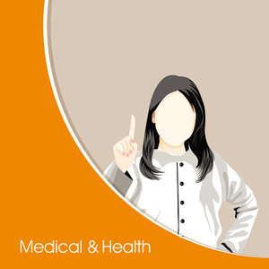 Health & Medical Concept With Illustration Of A Lady Doctor On Yellow And Brown Background.