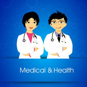 Health & Medical Concept With Illustration Of Smiling Face Of Doctors On Blue Background.