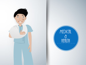 Health & Medical Concept With Illustratoion Of A Patient On Grey Background.