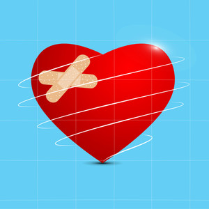 Health & Medical Concept With Red Heart Shape Design On Blue Background.