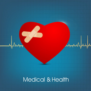 Health & Medical Concept With Red Heart Shape Design On Blue Heartblue Background.