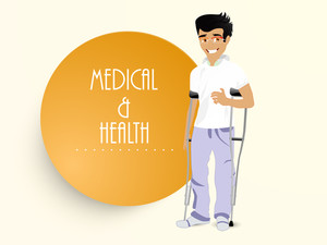 Health & Medical Concept With Smiling Patient On Yellow Background.