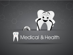 Health & Medical Concept With Smiling Teeth On Grey Background.