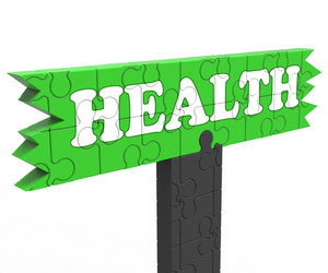 Health Sign Shows Healthcare Wellbeing Condition