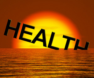 Health Word Sinking Showing Unhealthy Or Sick Condition