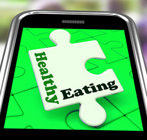 Healthy Eating On Smartphone Shows Dieting And Health Care