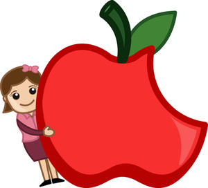 Healthy Food Concept - Cartoon Girl With An Apple
