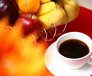 Healthy Fruit With Coffee For Breakfast