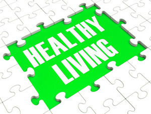 Healthy Living Puzzle Showing Healthy Diet